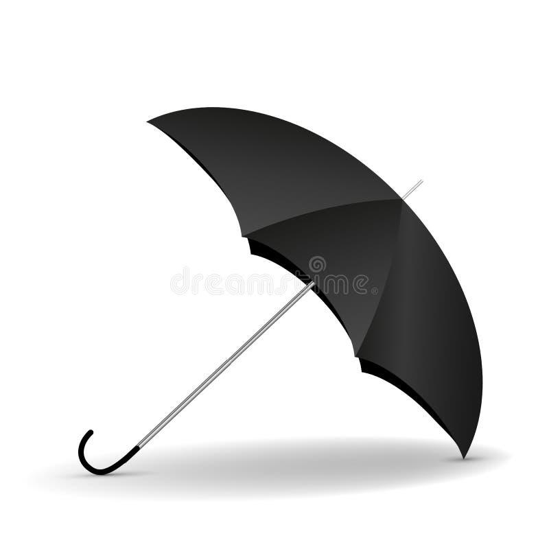 Realistisk svart för paraply med skugga stock illustrationer