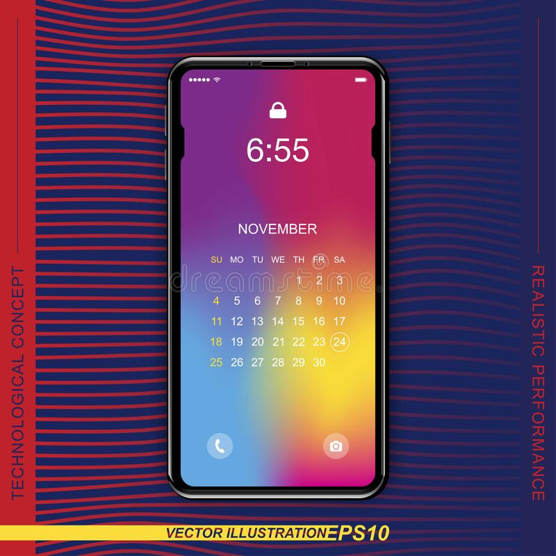 Realistisk svart smartphone för mall med ett skärmlås på en färgbakgrund Ringa med uppsättningen av den rengöringsduksymboler och royaltyfri illustrationer