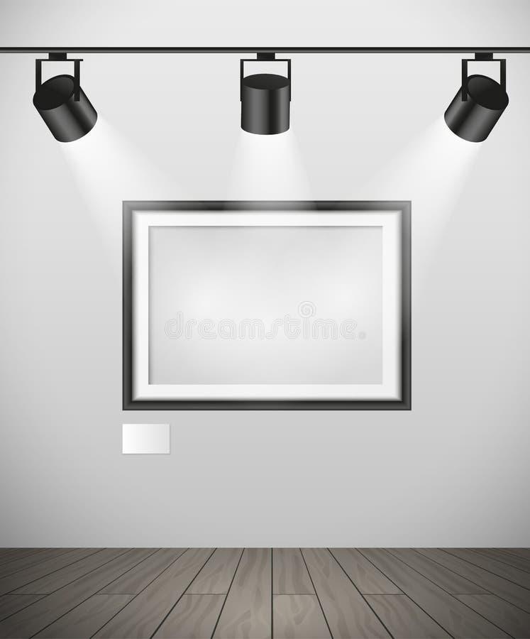 Realistisk svart tom bildram för vektor som hänger i galleri med fläckljus på konstruktion - modell vektor illustrationer