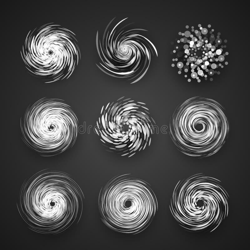 Realistisk symbol för orkancyklonvektor, logo för tyfonspiralstorm, snurrandevirvelillustration på svart bakgrund stock illustrationer