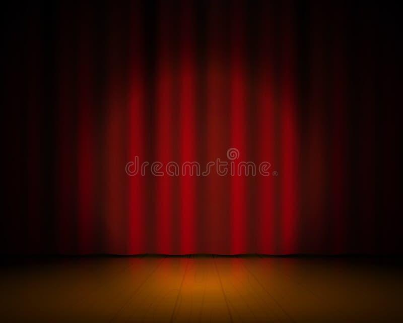 Realistisk teateretapp Röda gardiner och strålkastaren, Broadway showbakgrund, den eleganta bion draperar Konsert för vektor 3D royaltyfri illustrationer