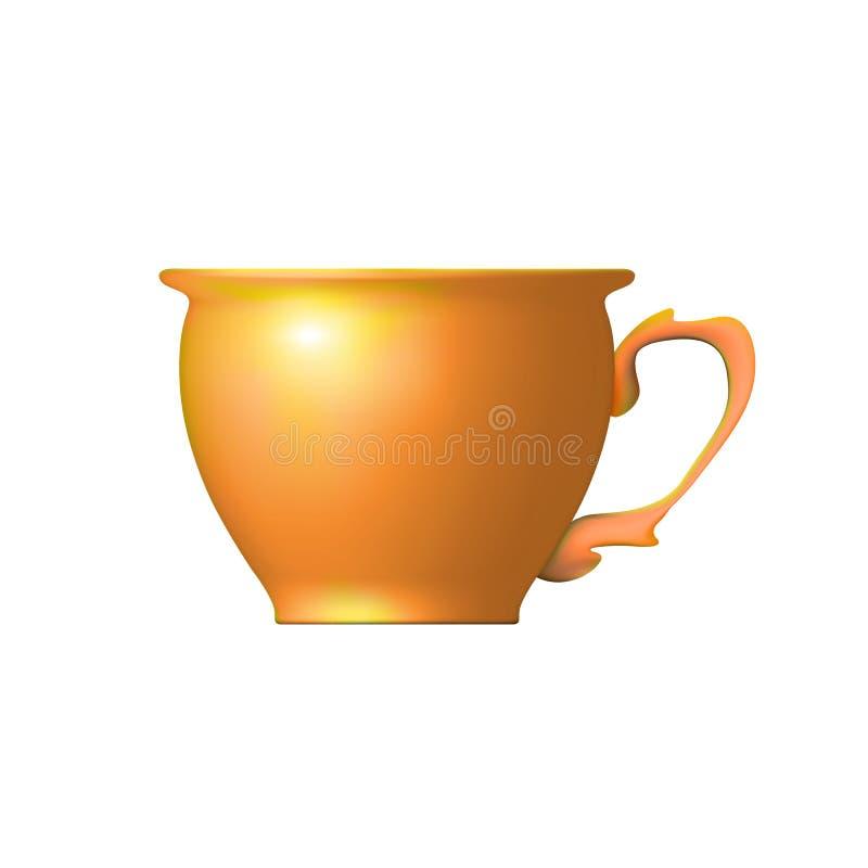 Realistisk tekopp fr?n den isolerade leraapelsinen Redskap som ?r passande f?r traditionellt kinesiskt te Keramik krukmakeri arbe stock illustrationer