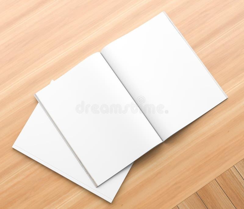 Realistisk tidskrift, broschyr-, bok- eller katalogmodell på träbakgrund. illustration 3d royaltyfri illustrationer