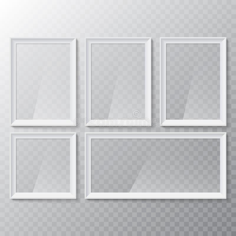 Realistisk tom bild- eller fotografiram Glass vit photoframe för vektor för inre konstverkdesign vektor illustrationer