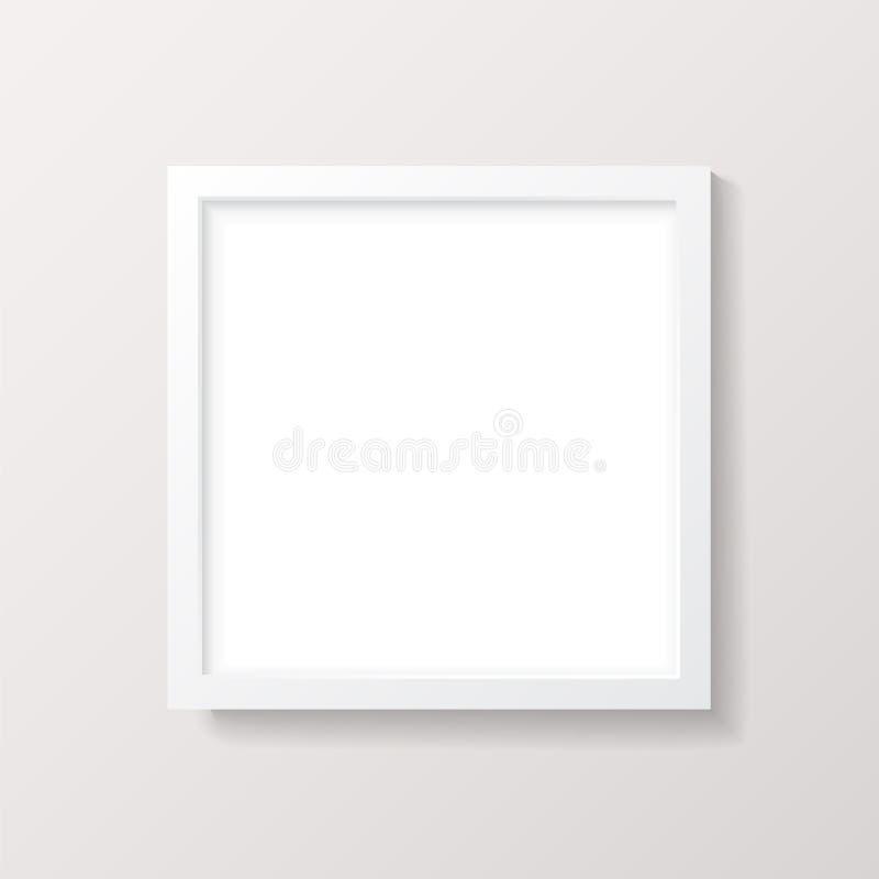 Realistisk tom för bildram för vit fyrkant modell royaltyfri illustrationer