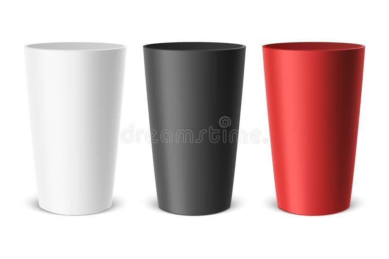 Realistisk tom plast- kopp för vektor Exempel för kontorstillförsel, drinkar, symbolsuppsättning closeup som isoleras på vit bakg vektor illustrationer