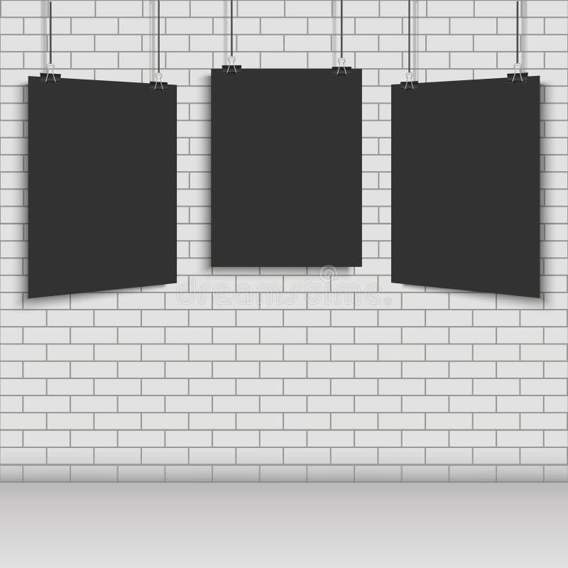 Realistisk tom ram som hänger på tegelstenväggen stock illustrationer