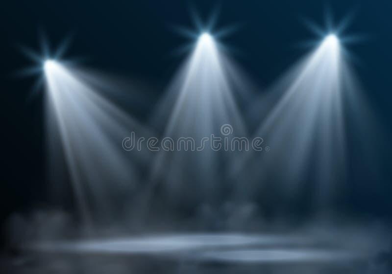 Realistisk tom upplyst etapp för vektor med tre strålkastare och mist på mörkt - blå bakgrund stock illustrationer