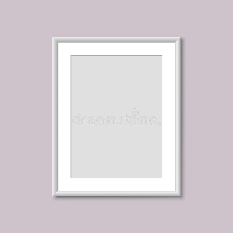 Realistisk tom vit bildram vektor illustrationer