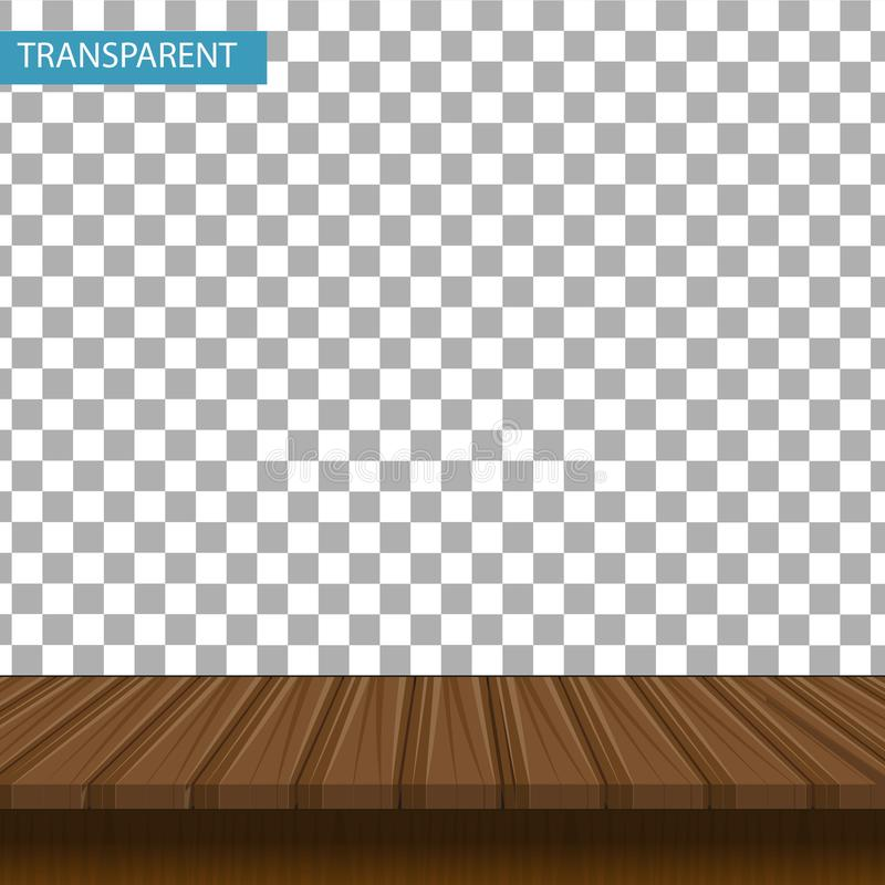 Realistisk trätabell på en genomskinlig bakgrund vektor illustrationer