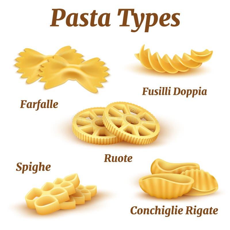 Realistisk traditionell italiensk uppsättning för pastatypvektor royaltyfri illustrationer