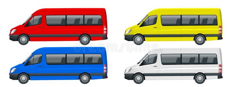 Realistisk uppsättning av den Skåpbil mall Isolated passagerareminibussen för företags identitet och advertizing Beskåda från sid stock illustrationer
