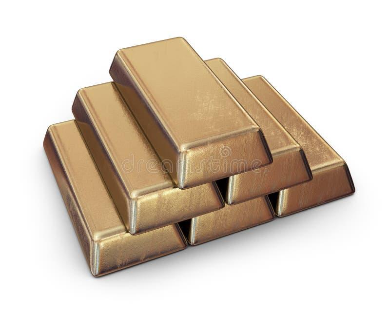 Realistisk uppsättning av guld- stänger symbol 3d vektor illustrationer