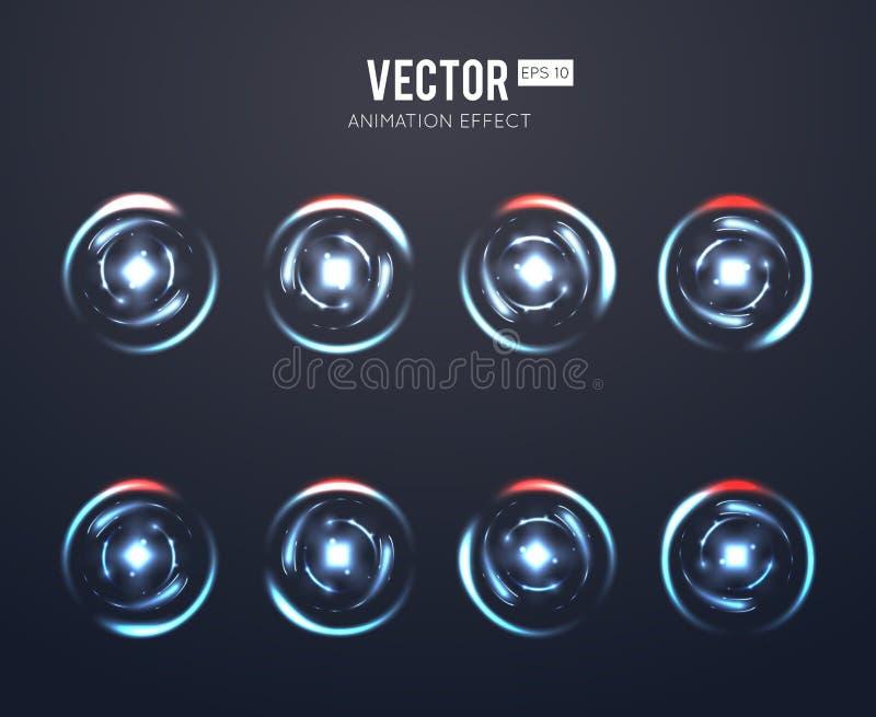 Realistisk uppsättning för animering för ljus effekt för vektor roterande för roterande laddar- eller lekpåfyllning stock illustrationer