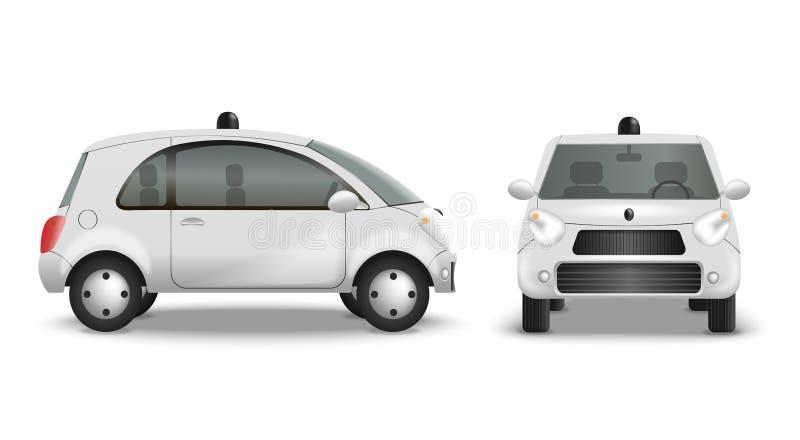 Realistisk uppsättning för autonom bil vektor illustrationer