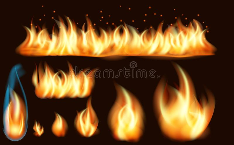 Realistisk uppsättning för brandflamma av brinnande brasor som isoleras på mörk bakgrund Samling av realistiska brandflammor royaltyfri illustrationer