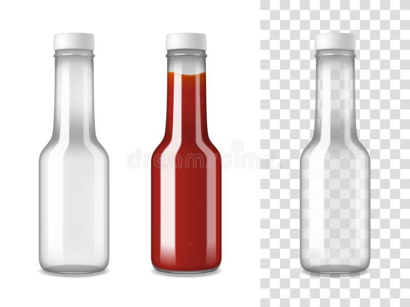 Realistisk uppsättning för ketchupglasflaskor royaltyfri illustrationer