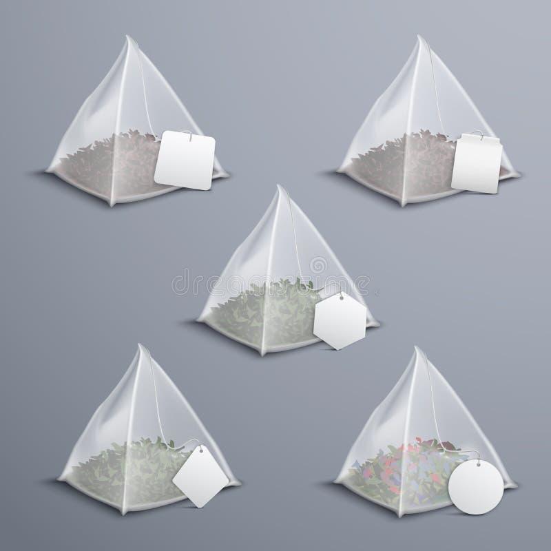 Realistisk uppsättning för pyramidtepåsar vektor illustrationer