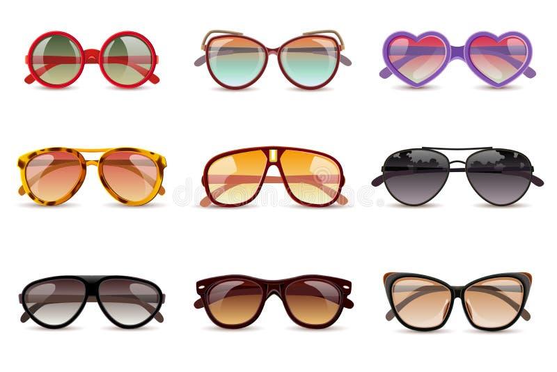 Realistisk uppsättning för solglasögon royaltyfri illustrationer
