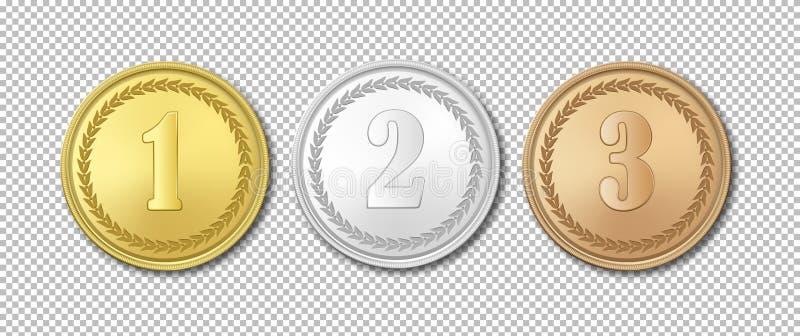 Realistisk uppsättning för symbol för medaljer för vektorguld-, silver- och bronsutmärkelse som isoleras på genomskinlig bakgrund royaltyfri illustrationer