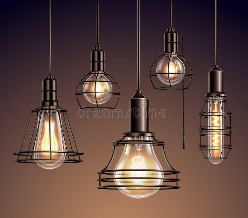Realistisk uppsättning för tappningljuskulor stock illustrationer