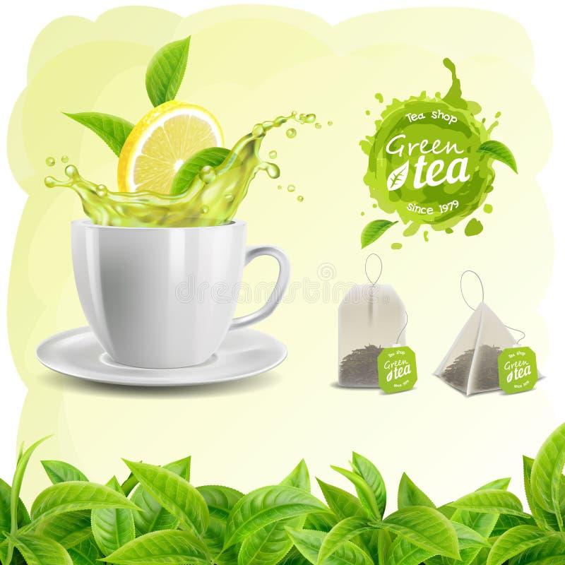 realistisk uppsättning för vektor 3D av beståndsdeltebladbakgrund, tekopp, en te- och citronfärgstänk, tepåsar och fläck, logo royaltyfri illustrationer