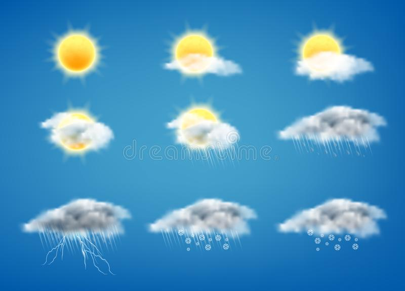 Realistisk uppsättning för vektor 3d av symboler för väderprognos stock illustrationer