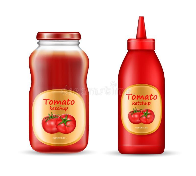 Realistisk uppsättning för vektor med två flaskor av ketchup vektor illustrationer