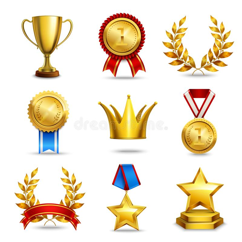 Realistisk utmärkelsesymbolsuppsättning stock illustrationer