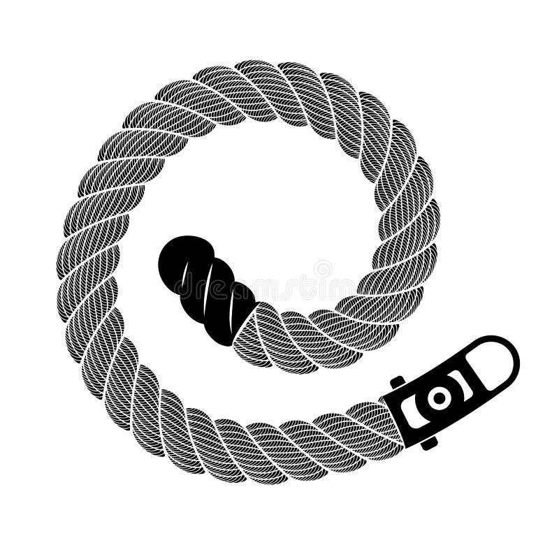 Realistisk väva spiral ögla för rep, enkel stil royaltyfri illustrationer