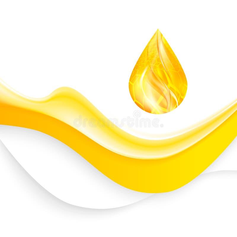 Realistisk vågolja eller honungbakgrund med droppe, vektor royaltyfri illustrationer