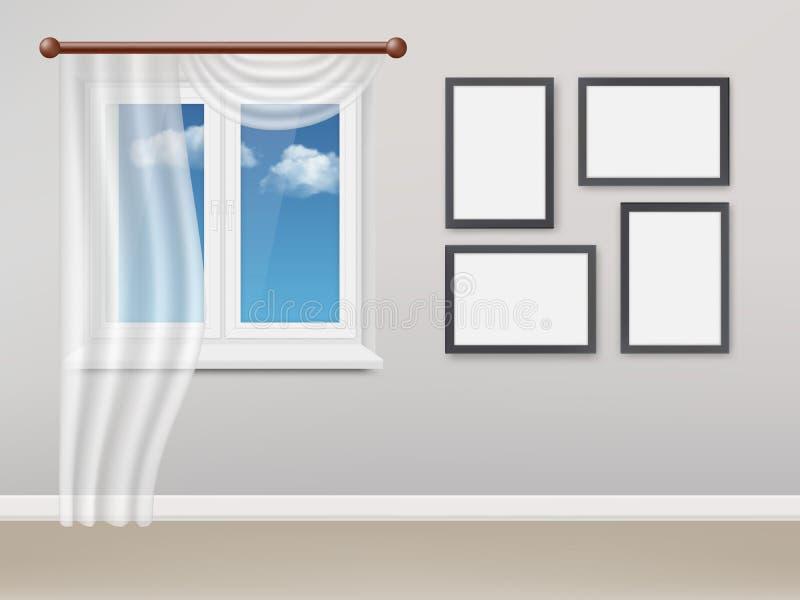 Realistisk vardagsrum för vektor med det vita plast- fönstret och gardiner stock illustrationer