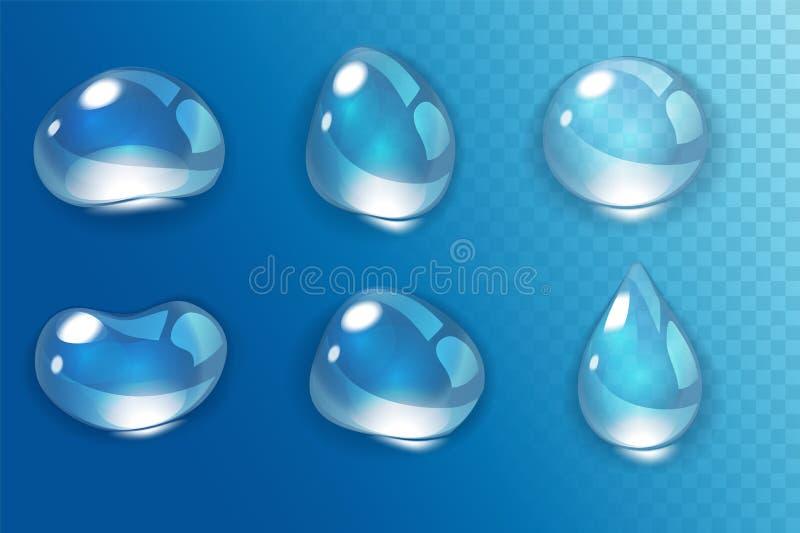 Realistisk vattendroppe på transperent bakgrund royaltyfri illustrationer