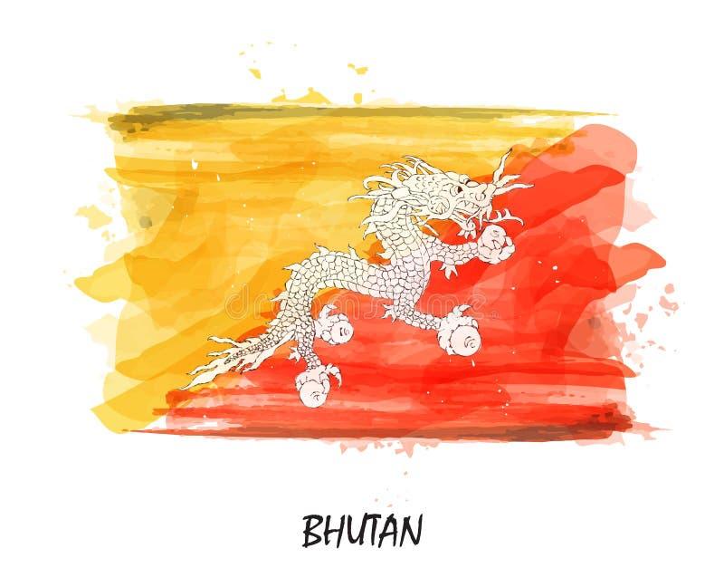 Realistisk vattenfärgmålningflagga av Bhutan vektor stock illustrationer