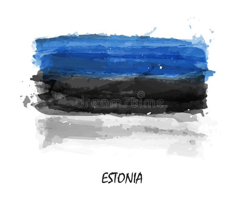Realistisk vattenfärgmålningflagga av Estland vektor stock illustrationer