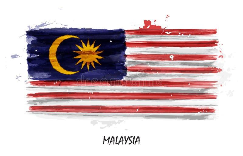 Realistisk vattenfärgmålningflagga av Malaysia vektor stock illustrationer
