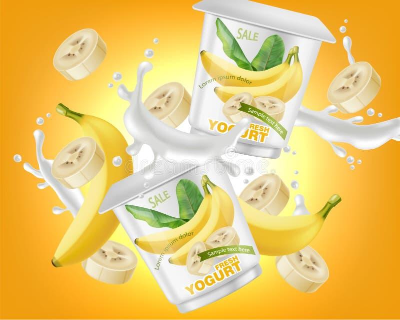 Realistisk vektor för färgstänk för bananyoghurtpacke Design f?r produktplaceringsetikett Pourring flytande för yoghurt ?tl?je up royaltyfri illustrationer