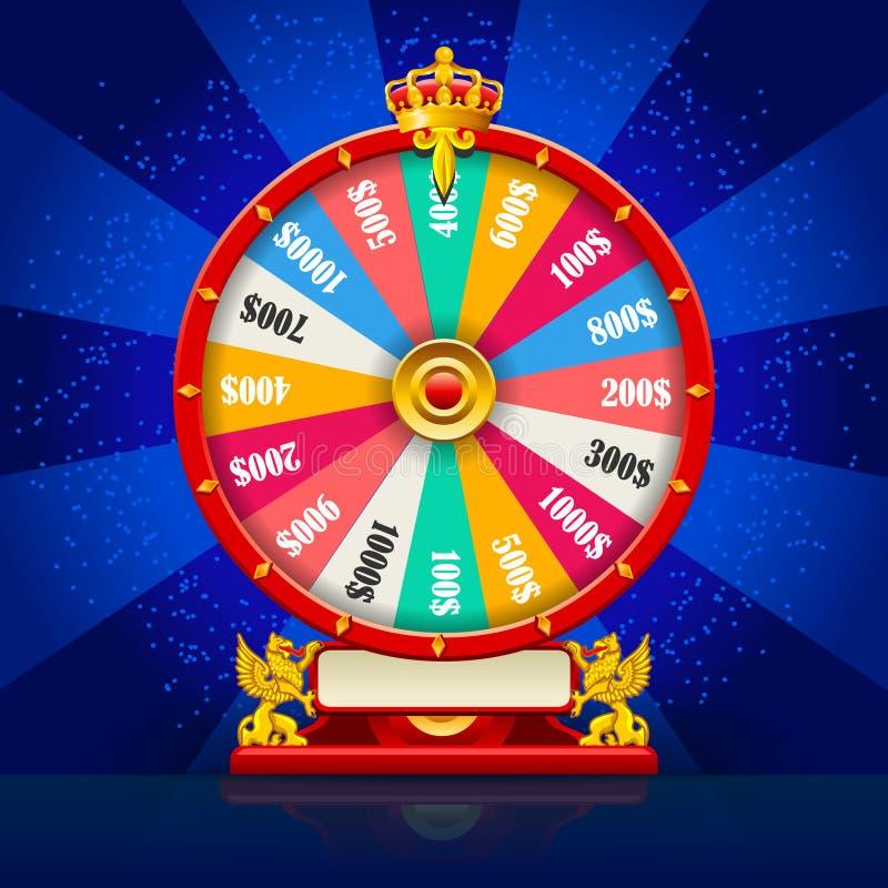 Realistisk vektor för förmögenhethjul som rotera Lucky Roulette vektor illustrationer