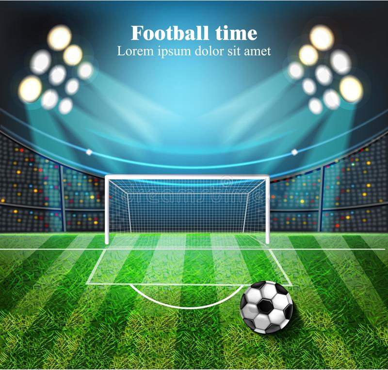 Realistisk vektor för fotbollfält Fotbollboll på stadion med ljus Detaljerade illustrationer 3d stock illustrationer