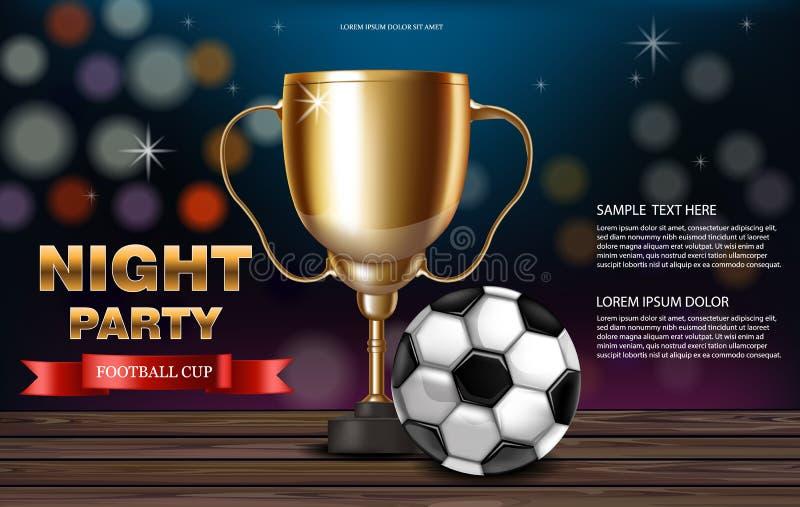 Realistisk vektor för guld- kopp och för fotbollboll Nattpartibaner med fotboll Mall för reklamblad för konkurrensdesign 3d stock illustrationer