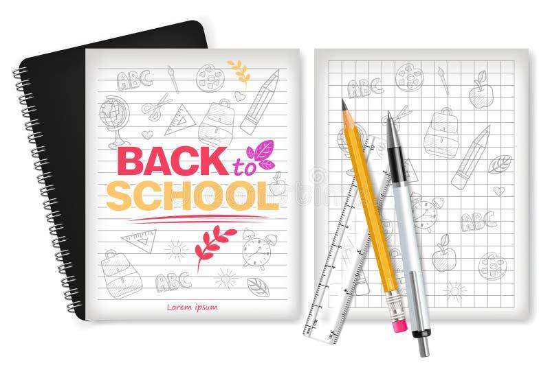 Realistisk vektor för skolatillförsel Räknemaskin, anmärkningsbok, linjaler och pennhjälpmedel Detaljerade illustrationer 3d royaltyfri illustrationer