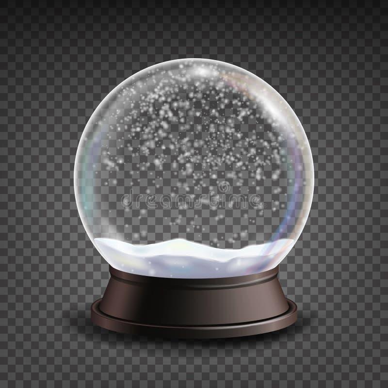 Realistisk vektor för snöjordklot Leksak för Realisitc 3d snöjordklot Beståndsdel för vinterXmas-design Isolerat på genomskinlig  royaltyfri illustrationer