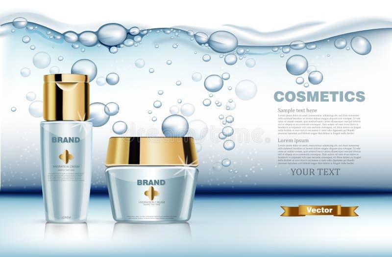 Realistisk vektor för uppsättning för Hydrationvattenskönhetsmedel Förpackande åtlöje för produkt upp Blå guld- flaskkräm och lot royaltyfri illustrationer