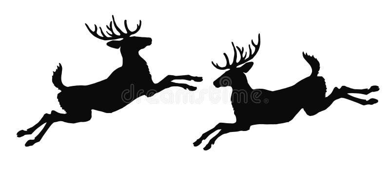 Realistisk vektor isolerad bild av konturer av två hoppa skoghjortar Ð•,Ð- Ь stock illustrationer