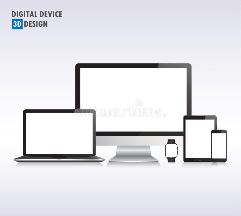 Realistisk vektorbärbar dator, minnestavladator, bildskärm och mobilpho vektor illustrationer