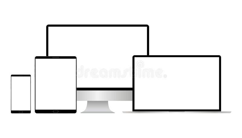 Realistisk vektorb?rbar dator-, minnestavladator-, bildsk?rm- och mobiltelefonmall vektor illustrationer