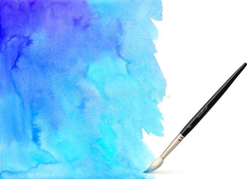 Realistisk vektorborste på vattenfärgbakgrund stock illustrationer