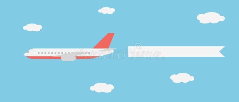 Realistisk vektorillustration av en stor och snabb linje flygplan med ett banerflyg mellan moln på en blå himmel royaltyfri illustrationer