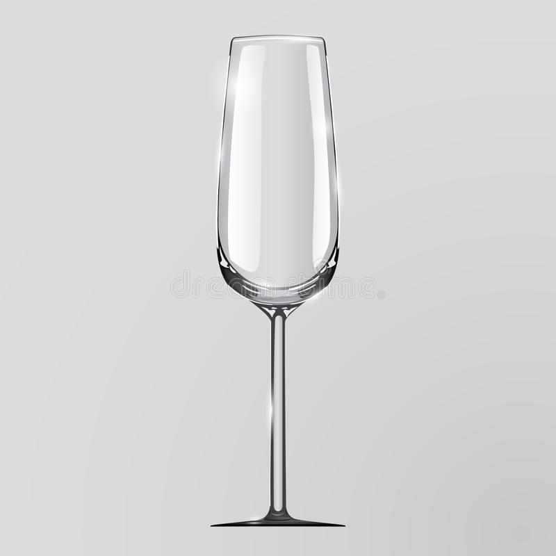 Realistisk vektorillustration av ett champagneexponeringsglas vektor illustrationer