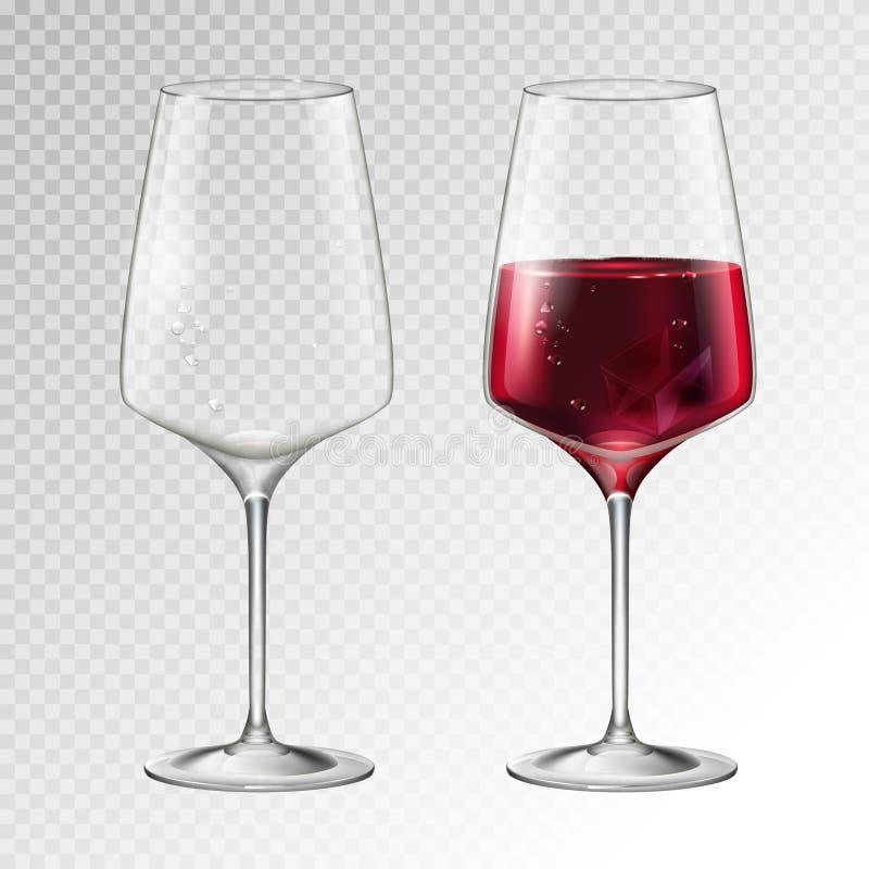 Realistisk vektorillustration av fullt och tomt champagne- eller vinexponeringsglas som isoleras på transperent bakgrund stock illustrationer